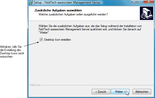 Installation Den Dialog zum Desktop-Icon
