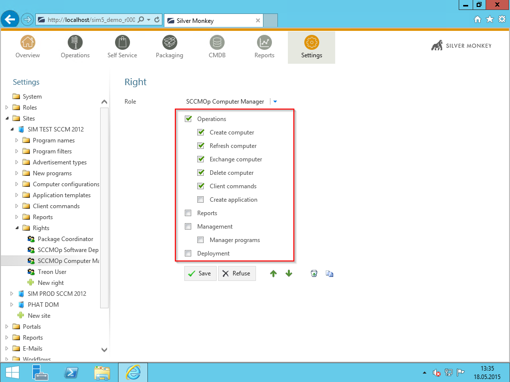 Demo Active Directory Single Sign On Role based rights