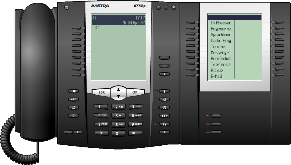 Voice over IP (VoIP) Software-VoIP-Systemtelefon Aastra 2775ip (OpenPhone 75 IPC) mit einer Tastenerweiterung Neben der VoIP-Systemtelefonie vom Arbeitsplatzrechner aus bietet das Aastra 2770ip