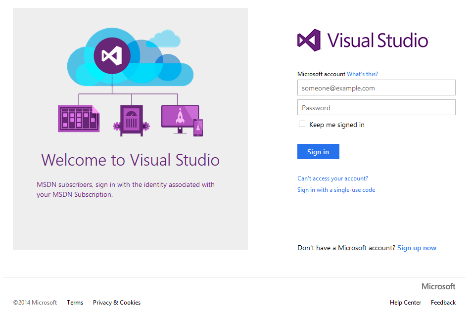 Visual Studio Online Account anlegen Erfordert
