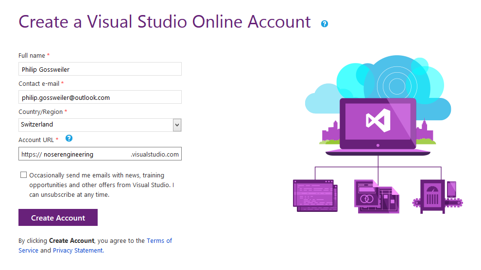 Visual Studio Online Account anlegen Account URL dient als