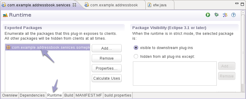 Export-Package Ein Bundle kann außerdem mit der Manifest-Option Export-Package Java-Packages exportieren, z.b. Bundle-SymbolicName: com.example.addressbook.services