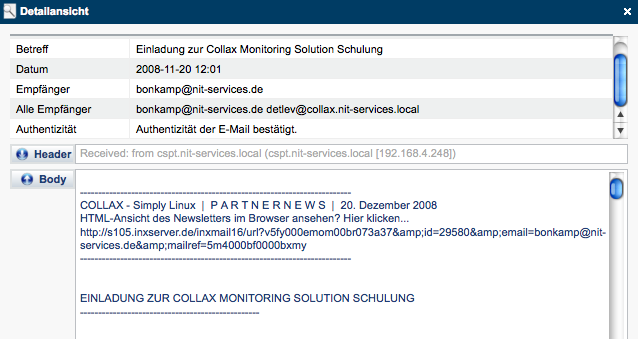 E-Mail-Archivierung: Collax