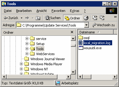 7.3.2. Vorgang Start Ausführen cmd cd\programme\update Services\Tools wsusutil.