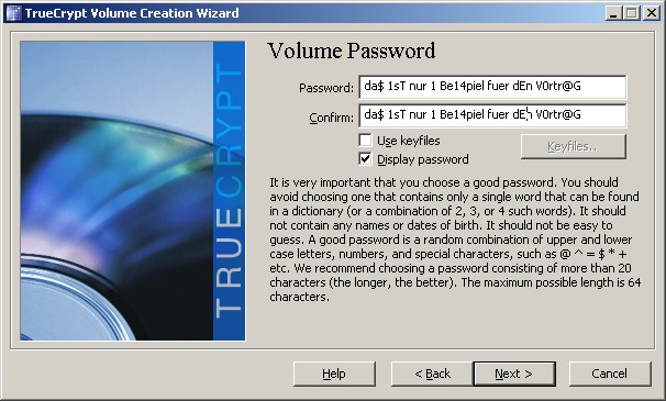 (Display password hilft bei Vertippen