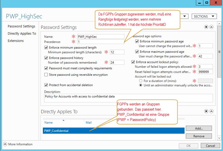 Fine Grained Password Policy Einrichten von Fine Grained Password Policies unter Windows 2008 / 2008 R2 (keine GUI!