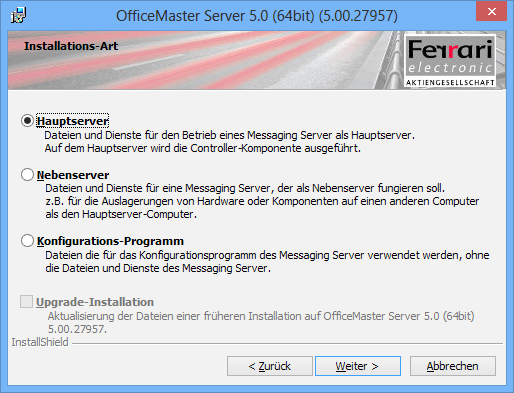 Installation OfficeMaster Suite 2.2. OfficeMaster Messaging Server Für die Installation wird der OfficeMaster Messaging Server in dem Installationspaket Setup-OfficeMaster-Server.exe (32 Bit bzw.
