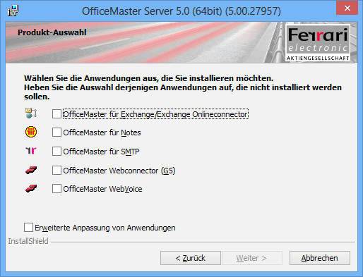 Installation OfficeMaster Suite 2.6.3 Upgrade OfficeMaster für Exchange 2007 Hinweis!