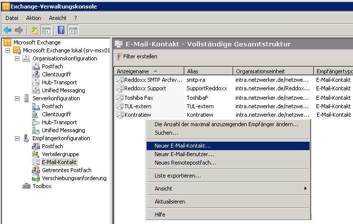 2.3.4 Konfiguration der E-Mail Zustellung via SMTP 2.3.4.1 Erstellung eines neuen E-Mail Kontaktes 1. Melden Sie sich beim MS Exchange Server als Domain Administrator an. 2. Auf dem MS Exchange Server starten Sie die Exchange Management Console.