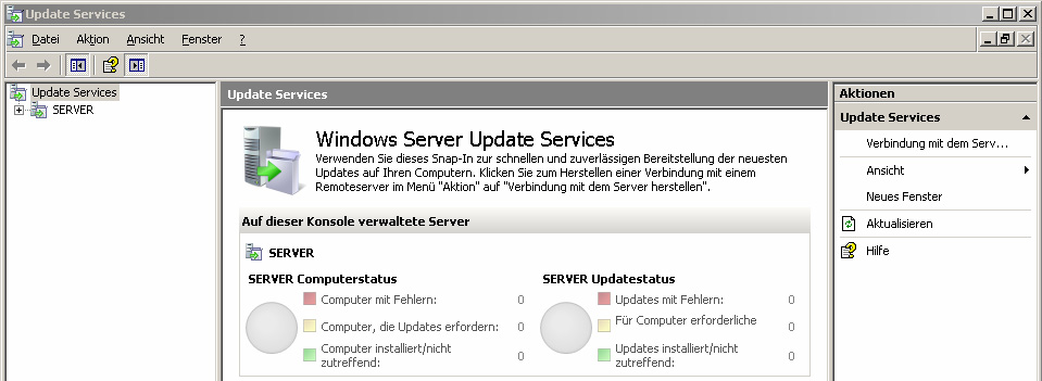 4. Erster Start Start Alle Programme Verwaltung Microsoft Windows Update Services oder Start