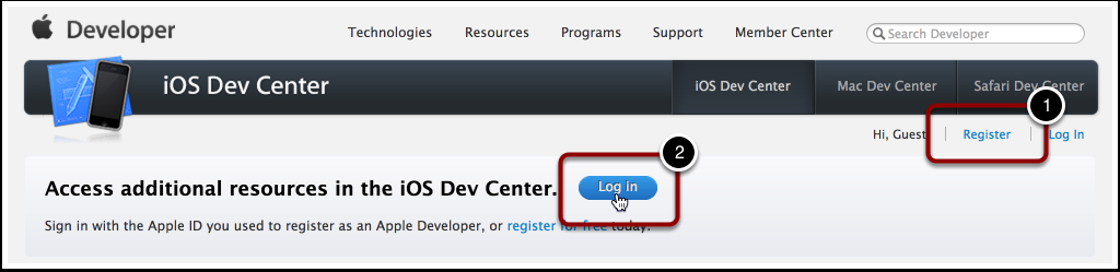 Apple Developer Account Das Apple Developer Center unter http://developer.apple.