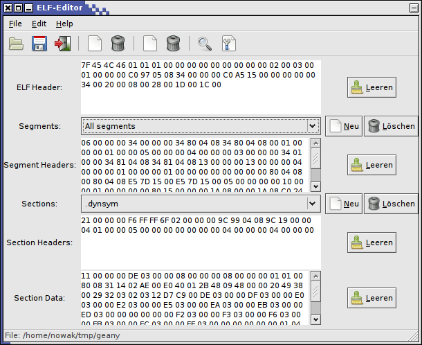 Fig. 5. ELF Editor for working with headers, segments and sections of ELF files system status.