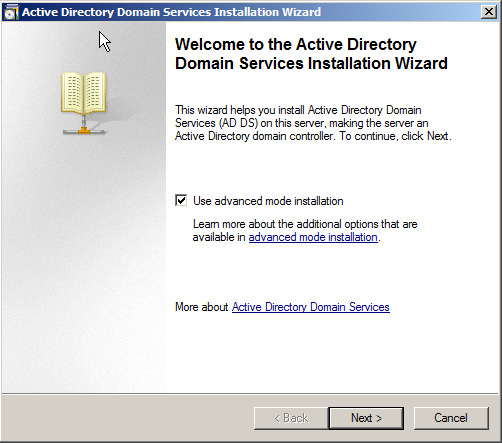 Active Directory in Longhorn : DCPromo Generelle Überarbeitung des Active Directory Domain Services Installation
