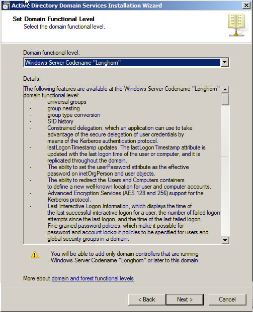 2007 45 Active Directory in Longhorn : DCPromo - Read-only Domain Controller - Automatischer