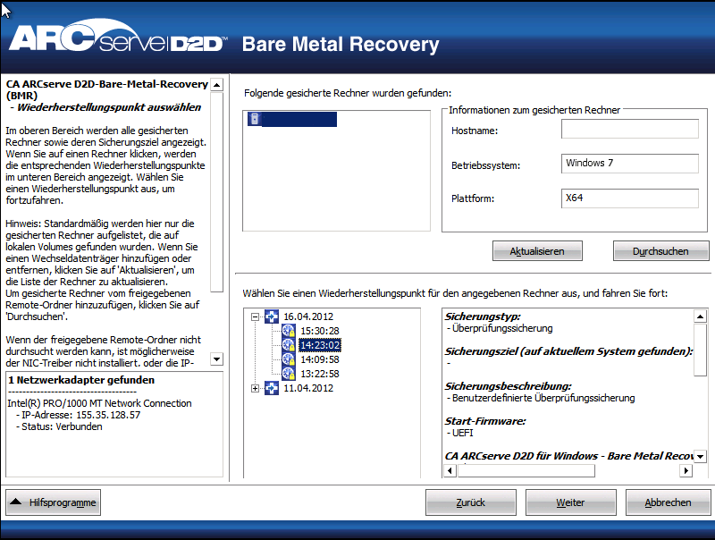 Bare-Metal-Recovery eines virtuellen