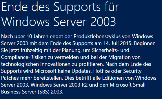 Ausgangslage End of Support Microsoft kündigt den Support per 14.