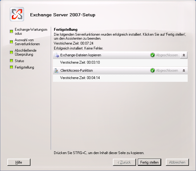 GUI: Exchange 2003 Server Angeben GUI: Auswahl des Exchange 2003 Servers GUI: Exchange
