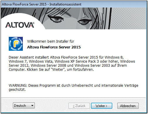 38 Installation 3.4.1 Installieren von FlowForce Server Windows Voraussetzungen Die Installation muss von einem Benutzer mit Administratorrechten durchgeführt werden.