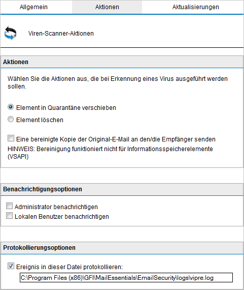 Screenshot 56: Virenscan-Engine: Konfigurationsseite (Registerkarte für Aktionen) 3.