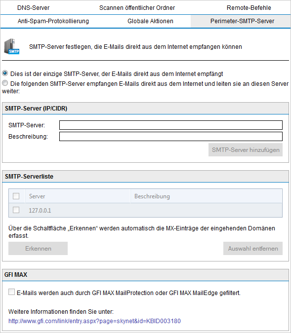 Screenshot 91: Perimeter-SMTP-Servereinstellungen 2.