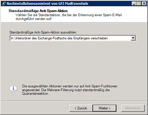 Screenshot 18: Auswahl der standardmäßigen Anti-Spam-Aktion 6.