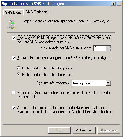 Screenshot 74 - SMS-Optionen 2.