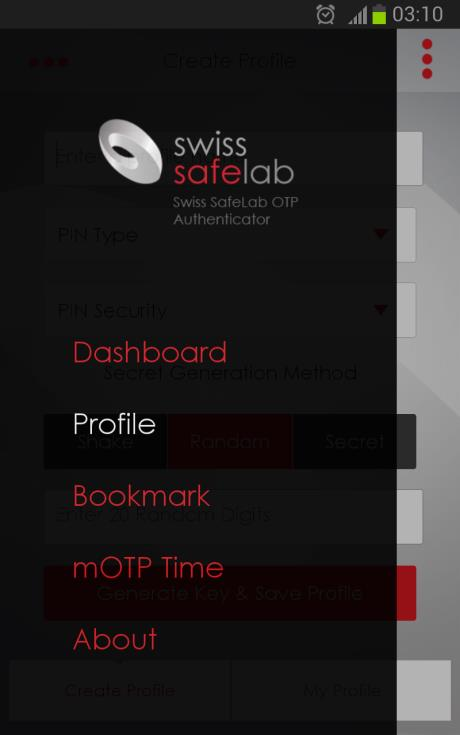 22. Swiss SafeLab OTP Authenticator 22.1. Beschreibung Swiss SafeLab OTP Authenticator Swiss SafeLab OTP Authenticator ist eine motp-app gemäss den Spezifikationen von http://motp.sourceforge.net.