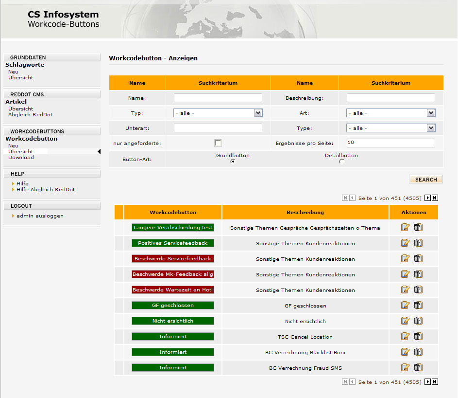 Workcodebuttons: Kundenhistorie, Reporting CMS Plugin:
