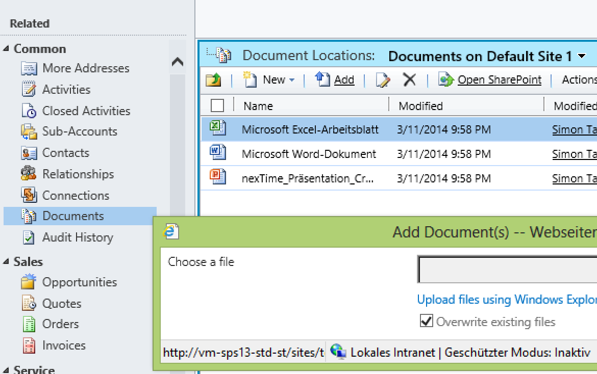 SharePoint Dokumente in CRM 12.03.
