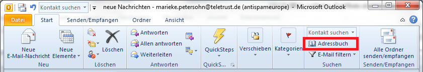 Starten Sie Outlook neu.