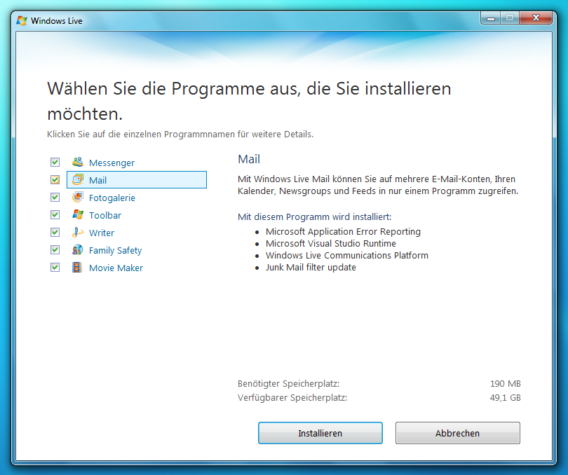 Wo sind Outlook, Express, Windows Mail, Messenger und Movie Maker? Einige Programme wie der Mail-Client Windows Mail (bzw.