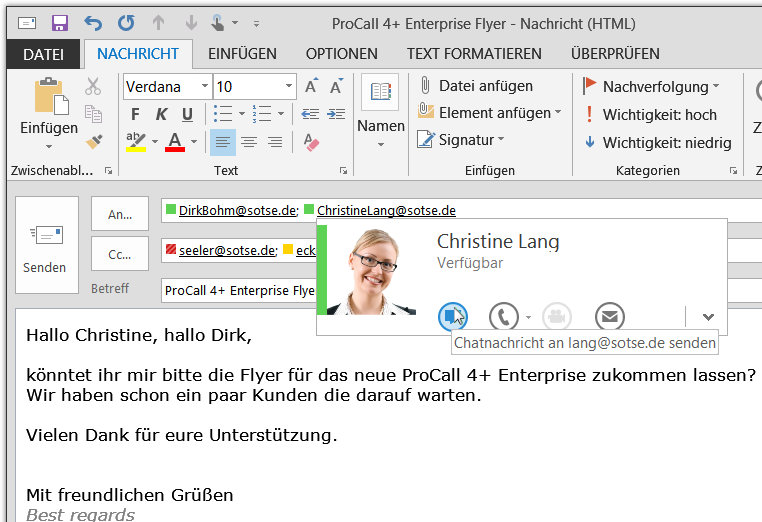 Integration mit Microsoft Outlook