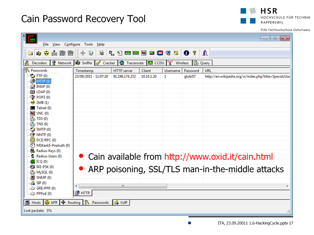 Cain & Abel is a password recovery tool for Microsoft Operating Systems.