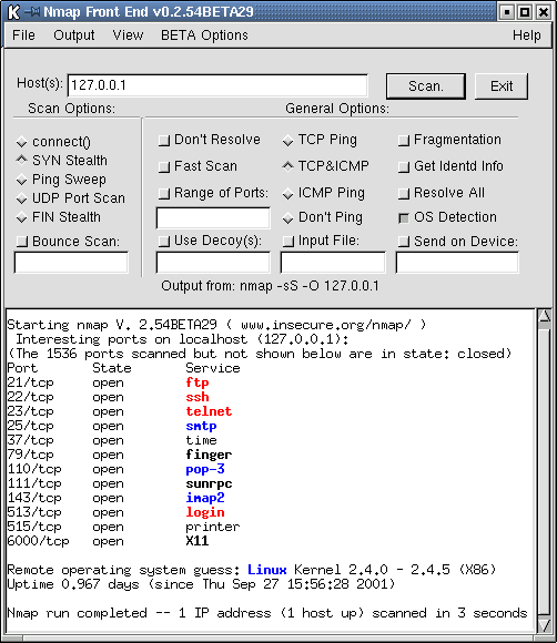 96 6 Sicherheitsanalyse ild 6.1: xnmap, ein grafisches Frontend für nmap OS and Service detection performed. Please report any incorrect results at http://nmap.org/submit/.