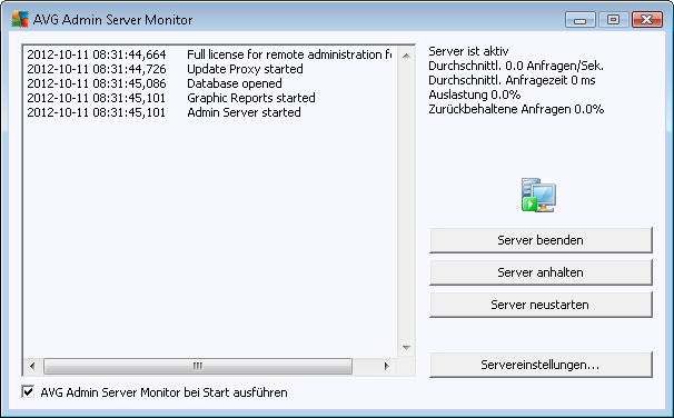 9.3. AVG Admin-Server-Einstellungen Der AVG Admin Server Monitor ist Teil der Installation von AVG Admin-Server.