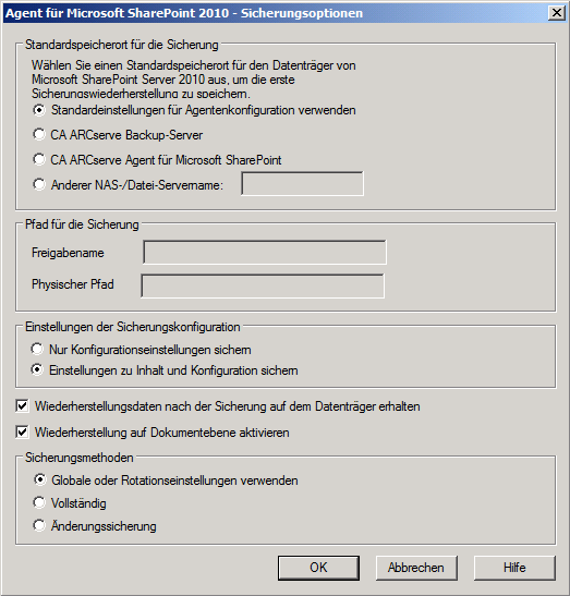 "Dialogfeld ""Sicherungsoptionen"" in SharePoint Server 2010 Dialogfeld ""Sicherungsoptionen"" in SharePoint Server 2010 In den folgenden Abschnitten werden die Optionen beschrieben, die der CA ARCserve"