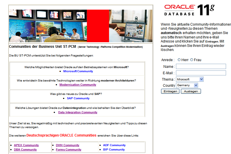 Oracle BU ST-PCM Registration Page http://www.oracle.