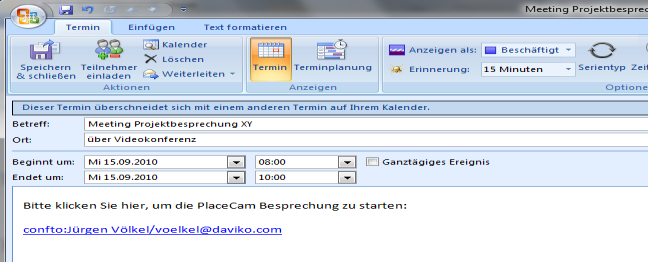Outlook-Videoterminplanung für Konferenzen Recording für Audio/Video,