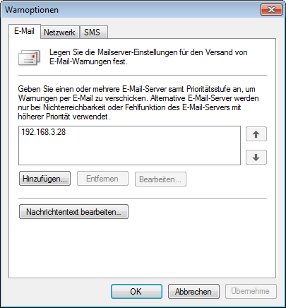 Screenshot 96: Warnoptionen Registerkarte E-Mail 3. Klicken Sie auf der Registerkarte E-Mail auf Hinzufügen..., um die Einstellungen für den Mailserver anzugeben.