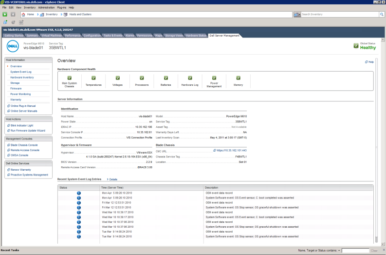 VMware vcenter: Server Integration Dell Management Plug-in for VMware vcenter Bereitstellen Automatisierte Bare-Metal Hypervisor
