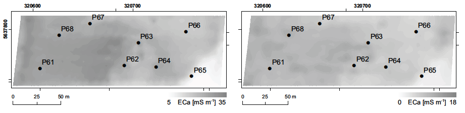 89 Fig. 1: Maps of EC a measured up to 50 cm soil depth in one test field with the locations of the crop sampling points (P61 P68). Left: EC a measured in March 2012.