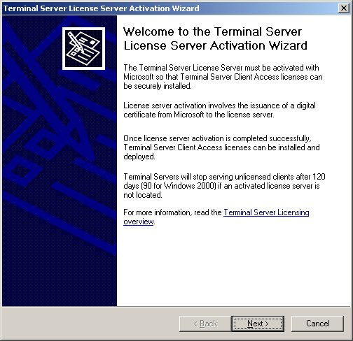 KAPITEL 3. INSTALLATION Im Kontextmenü des gewünschten Servers startet man über Aktivate Server den Terminal Server License Server Activation Wizard : Abbildung 3.
