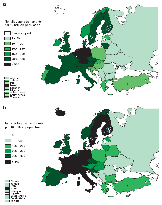 Transplant rates in Europe (= total number of HSCT per 10 million inhabitants) by participating country.