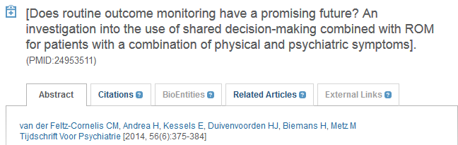 Systemat. Reviews van der Feltz-Cornelis et al. (2014) Does routine outcome monitoring have a promising future? [ ] Systemat.