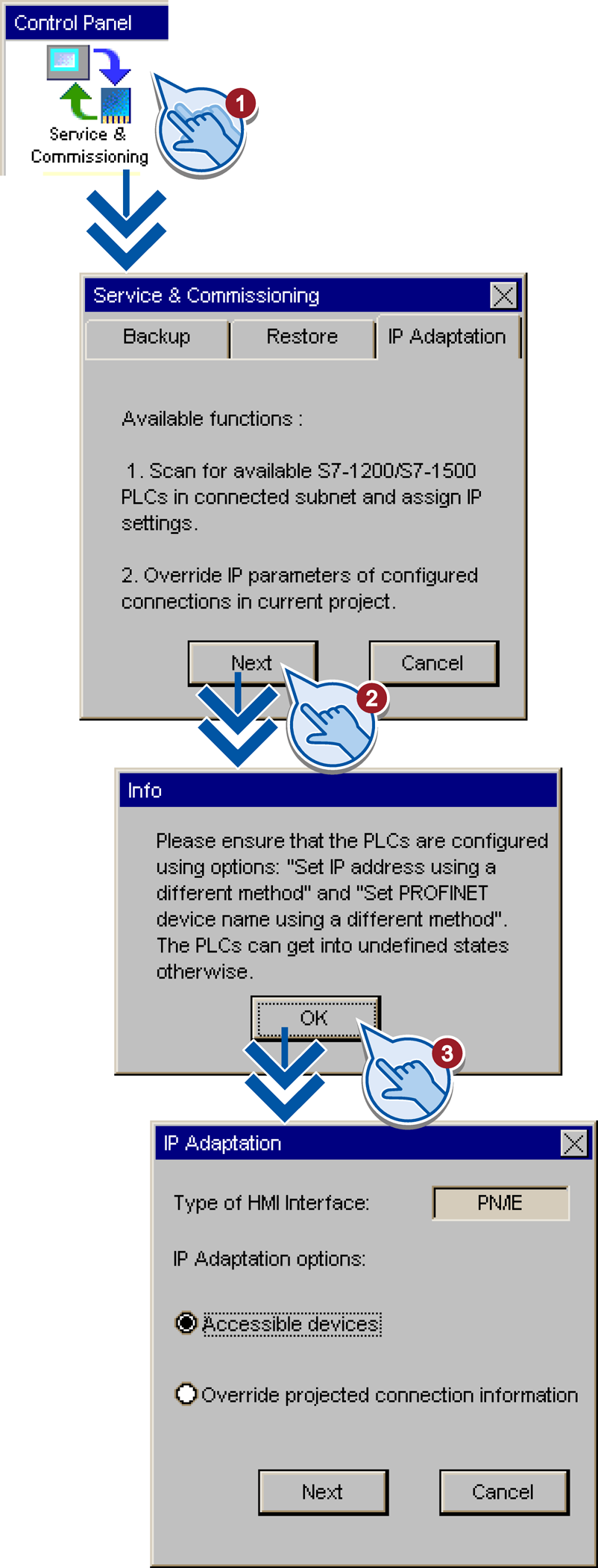 "3.3 Changing network and connection parameters of a controller 3.3.1 Opening the 'IP Adaptation' dialog 1. Click the ""Service & Commissioning"" button in the Control Panel. 2."