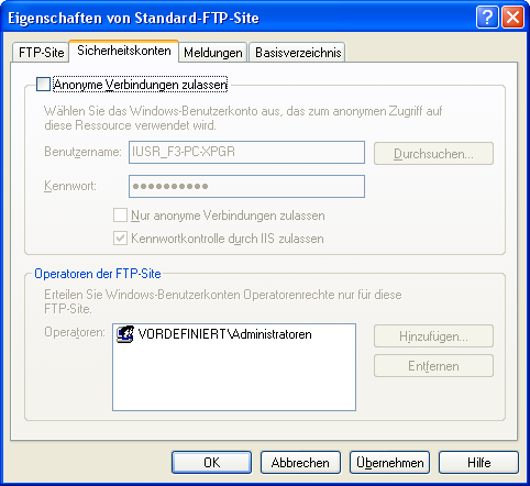 Kapitel 2 Installation Freelance FTP-Server unter Windows XP FTP WinXP FTP Security gr.