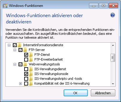 Kapitel 2 Installation Freelance FTP Server unter Windows 7 FTP Server unter Windows 7 FTP-Server installieren FTP Server Win7 Windows Features gr.