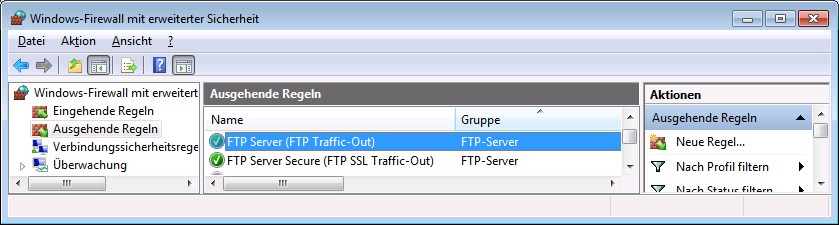 FTP-Server testen Kapitel 2 Installation Freelance FTP Outbound FTP Rules Windows 7 gr.