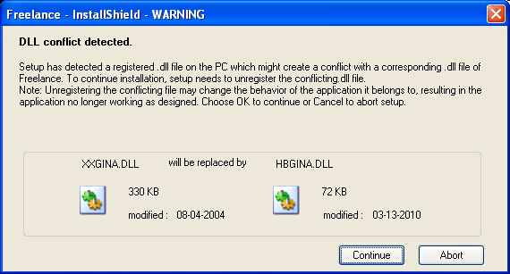 Import Data from Previous Versions Section 2 Freelance Installation Installation of HBGina. Freelance uses its own dll (HBGina.dll) for Graphical identification and authentication in Windows XP.