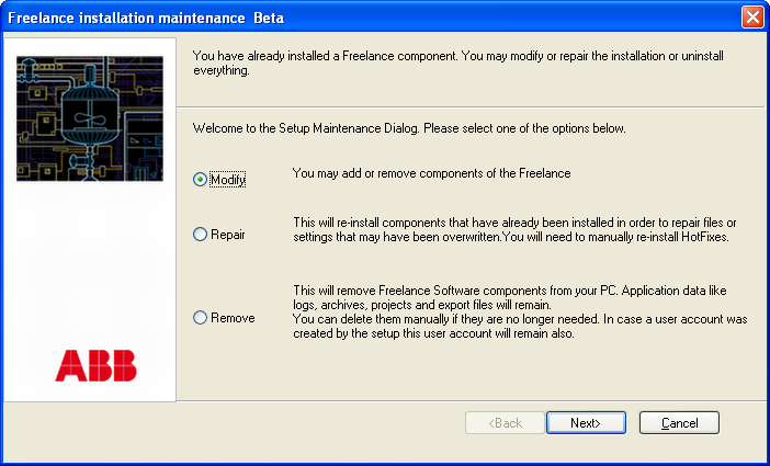 Section 2 Freelance Installation Maintenance mode Maintenance mode If the setup program is started on a PC where one or more Freelance